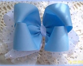 Blue and White Hair Bow  with Sparkle Tulle.....Double Hair Bow with Sparkle Tulle...Girls Hair Bow...Toddler Hair Bow