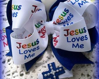 Christian Hair Bow....Cross Hair Bow... Religious Hair Bow..Girls Hair Bow....Toddler Hair Bow...Jesus Loves Me  Bow w detachable cross clip