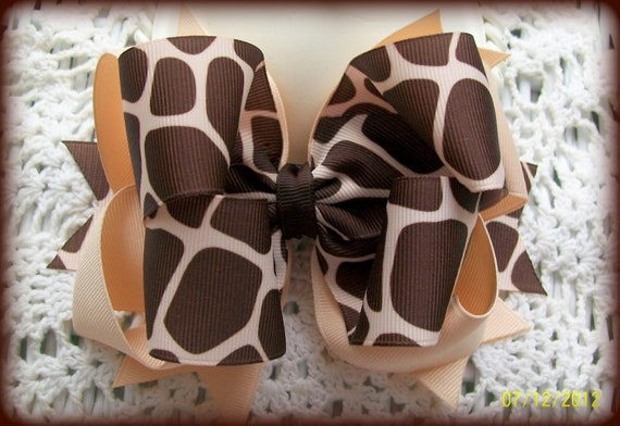 Giraffe Hair Bow....Girls Hair Bow....Double Spikey Boutique Bow