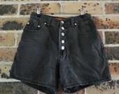 black denim high waist grunge shorts