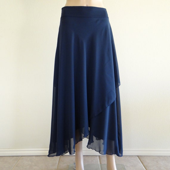 Navy Blue Long Skirt. Chiffon Maxi Skirt. Long Evening