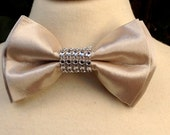 Bow tie, Champagne Gold Bow Tie, Boys Bow Ties, Crystal on bow tie, Holiday Bow ties, Adult bow tie