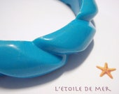STOCKTAKE SALE Blueberry Twist vintage bangle retro blue aqua