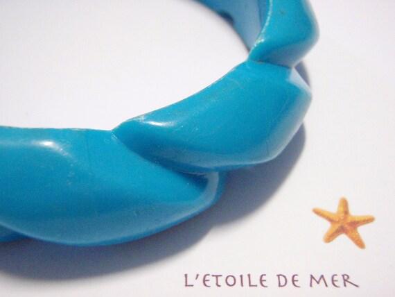 STOCKTAKE SALE Blueberry Twist vintage bangle retro blue aqua