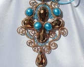 Stunning Bronze and Turquoise Freshwater Pearl Soutache Styled Wire-Wrapped Pendant