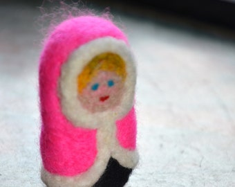 A Lady in Pink Coat OOAK Needle Felted Doll