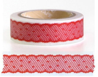 Japanese Washi Tape Roll- Red Lace Motif