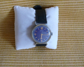 """USSR  """"POBEDA""""  (Victory)  wrist watch 1960 - 70 blue dial  Very Rare PERFECT"""