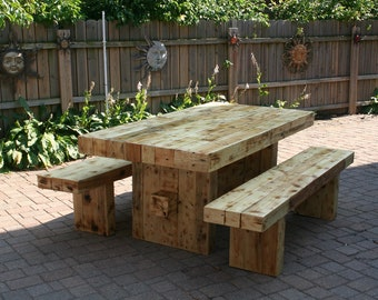 reclaimed wood dining table set with 2 benches