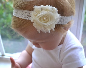 Baby Headband, Ivory Shabby Flower Lace Headband, Newborn headband, Baby Girl Photo Prop. Baptism, Christening, flower girl