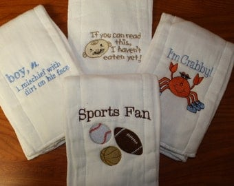 Boys Burp Cloth with I'm Crabby, Sports Fan, Mischief, and more