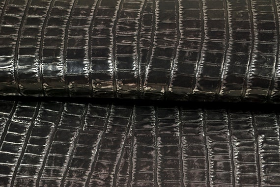 RESERVED to Monica - alligator metallic Leather hide charcoal 7 ft square feet big COD222