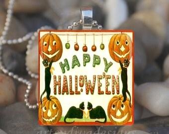 VINTAGE HAPPY HALLOWEEN Jack o Lantern Black Cat Pumpkin Glass Tile Pendant Necklace Keyring