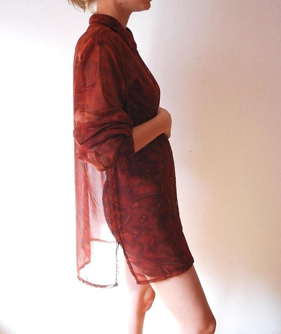 R E S E R V E D FOR MUNDA Vintage red brown blouse transparent fall autumn pattern women size large