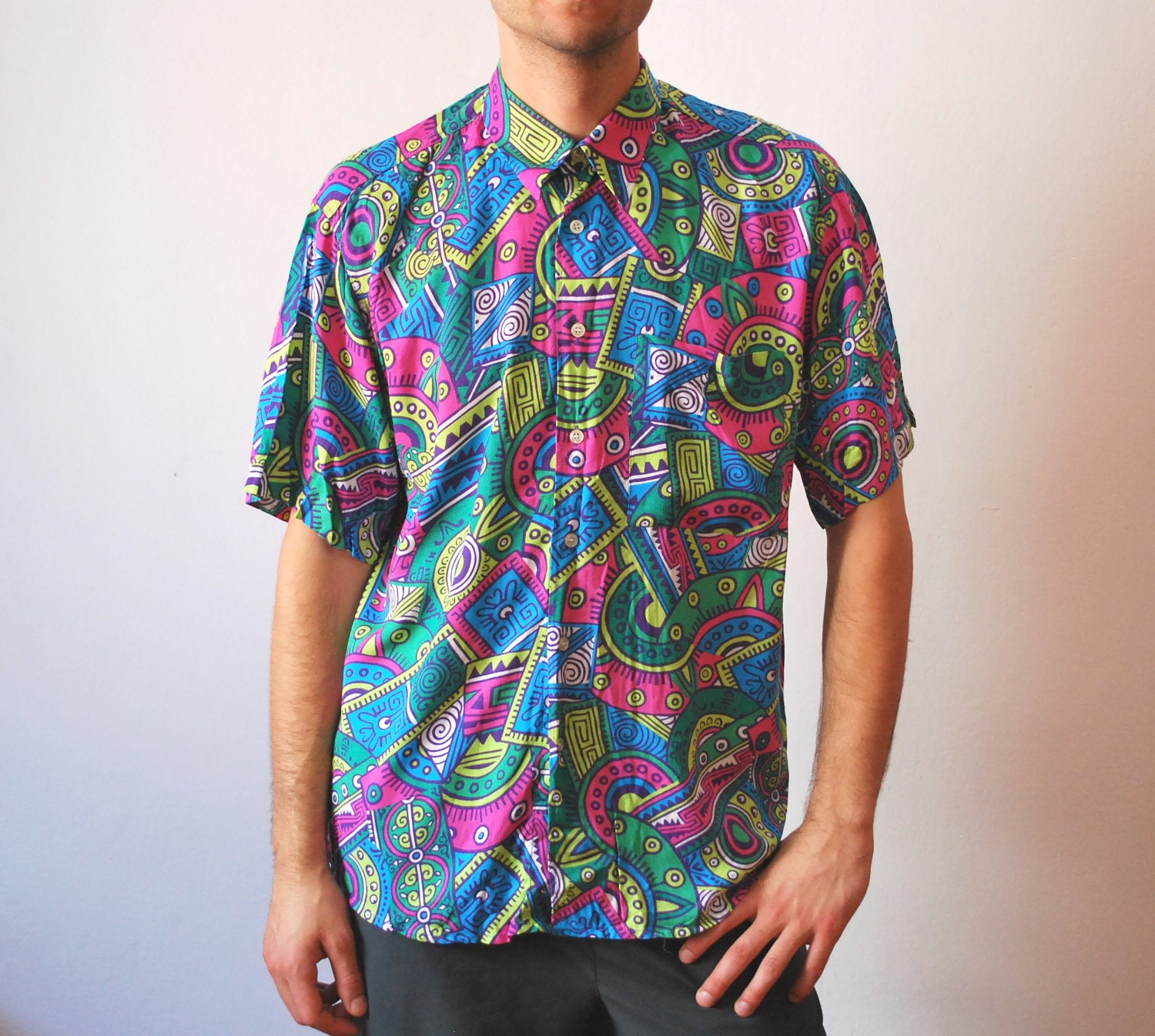 Vintage colorful neon shirt 90s men unisex size medium large