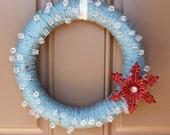 Blue Ice - Christmas Yarn Wreath