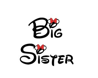 Disney Big Sister Iron on Transfer Decal(iron on transfer, not digital download) Disney Iron On Disney matching Family Shirts