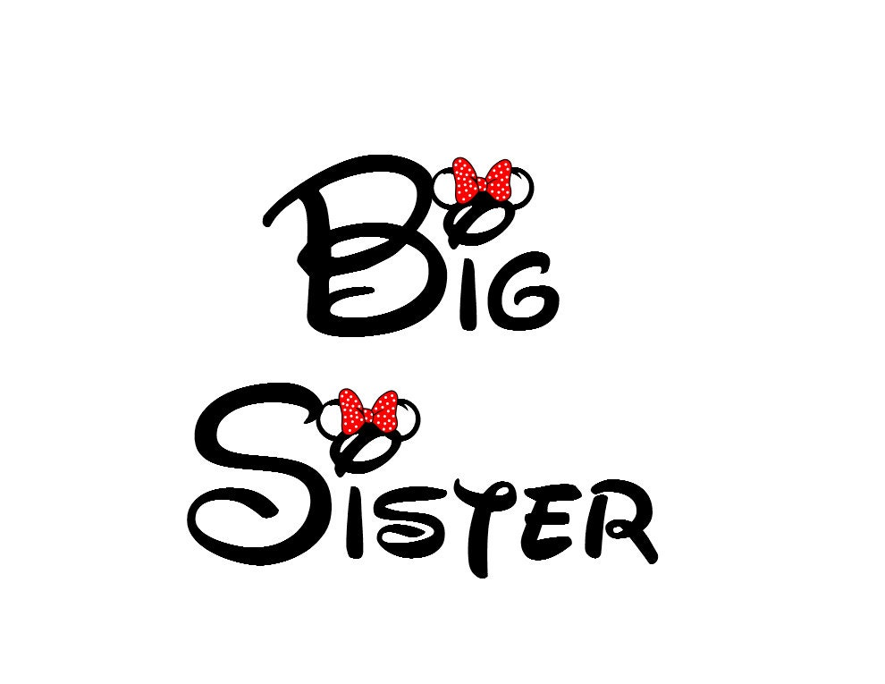 Disney Big Sister Iron on Transfer Decaliron on transfer not