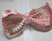 Neopolitan Bear pink white and brown medium Crochet Bow