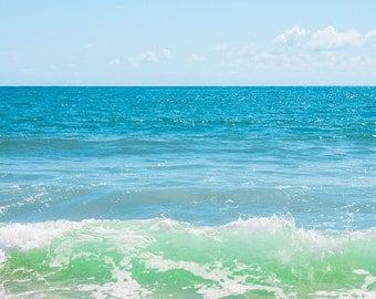 Ocean Waves photograph Digital Download Photography Beach art Seascape photo blue green wall art Coastal art