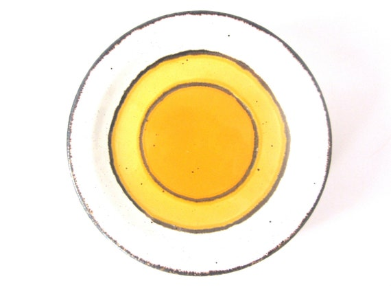 Midwinter Sun set of 6 small plates- white with yellow and orange