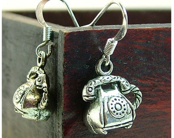 Telephone Earrings/Retro TELEPHONE Silver Colored Dangle Earrings by Watto's Wife / Phone Earrings/ Vintage Telephone/ Retro Telephone