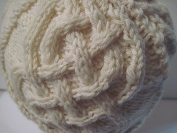 Hand Knitted 100% WOOL Aran Braid Watchcap