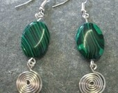 Malachite and silver spirals earrings