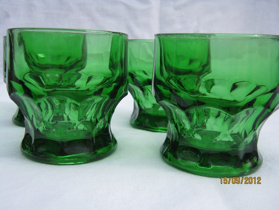 Deep green color anchor hocking juice glass