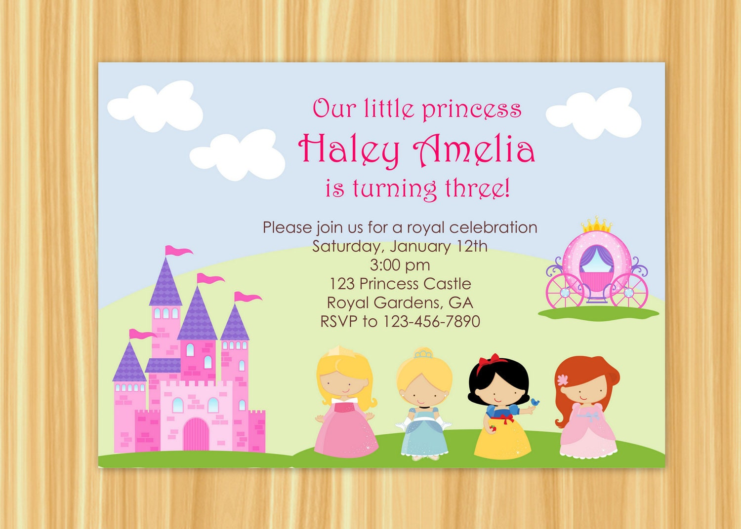 princess party invitation princess party birthday snow