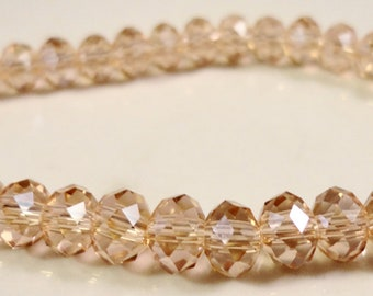 Pink Rondelle Crystals 6x4mm (4x6mm) Pink Peach Faceted Chinese Crystal Beads on an 8 Inch Strand with 49 Beads
