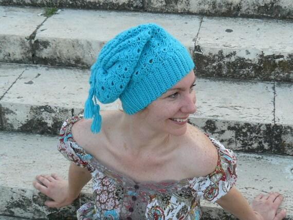 Woman's crochet beanie, blue wool hat, turquoise slouchy beanie, knit pompom hat