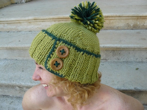 Woman's knit hat, green pompom chunky beanie, olive wool ski hat, alpaca knitting