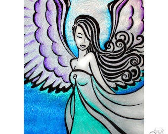 Healing Angel PRINT / Suicide Prevention Awareness Mental Health Depression Guardian Angel / Teal / Gift for Friend // 5x7 / 8x10 / 11x14