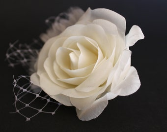 Bridal Ivory  Hair Clip with French Netting, Ivory Rose, Bridal Fascinator, Wedding Accessories