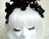 "aliceband hair band head dress black orchids - ""Black Beauty"""