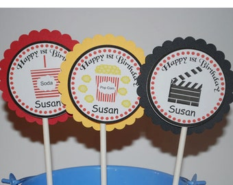Movie Night Cupcake Toppers - Set of 12 Personalized Birthday Party Decorations