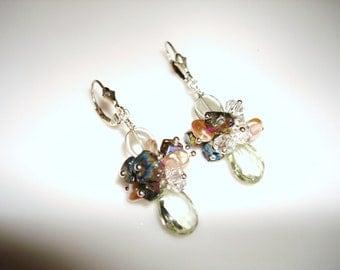 Gemstone Earrings Prasiolite Green Amethyst  Chalcopyrite Crystal and Pearls