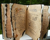 Tree of Life  BOOK OF SHADOWS with vibrant colored wiccan pagan parchment pages scrap paged in with each page burt shadows