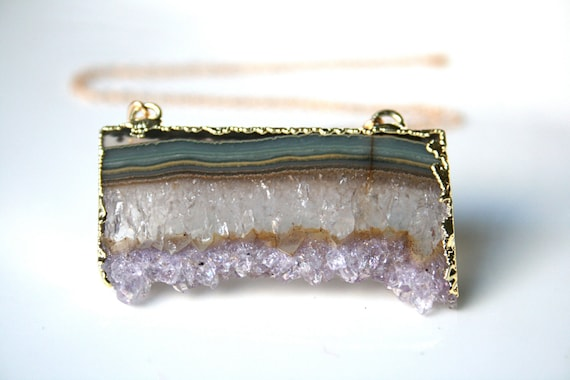 Raw Amethyst Slice Necklace. Stalactite Edged in 24k Gold