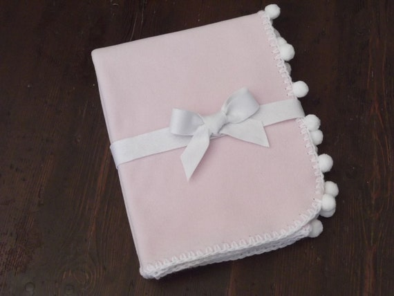 Baby Blanket- Pink Fleece with White Crochet Edge and Pon Pon- Pink and White- Christmas- Baby Shower- Toddler Party -Baby and Children Gift