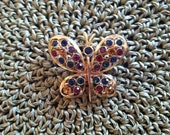 Signed Eisenberg Ice Vintage Gemstone and Goldtone Butterfly Pin