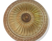 Ceiling medallion, GOLDEN CROWN, hand painted in gold metallics for a fan or chandelier.