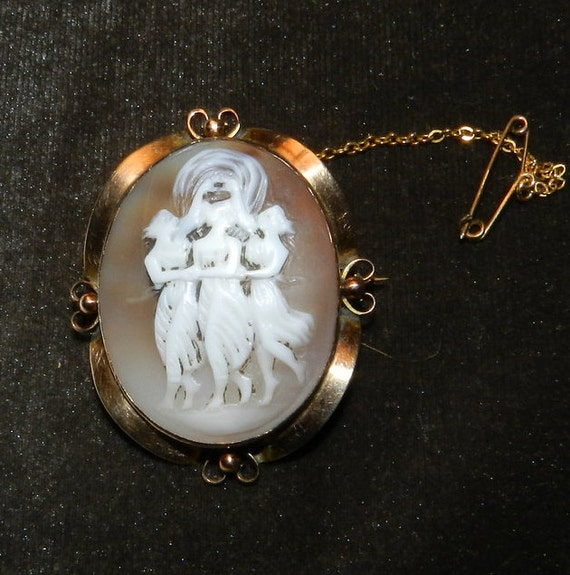 Georgian - Victorian Gold Framed Cameo, The Three Graces, stunning shell carved with exquisite figural detail, Civil War Era