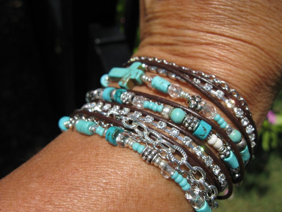 Boho Turquoise Wrap Bracelet - Turquoise Beads, Silver Chain, Black Leather