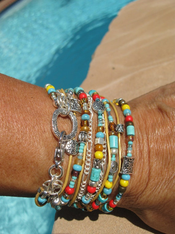 Boho Endless Leather Wrap Bracelet - Desert Cactus