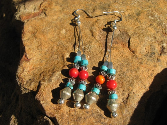 Coral and Turquoise spear earrings