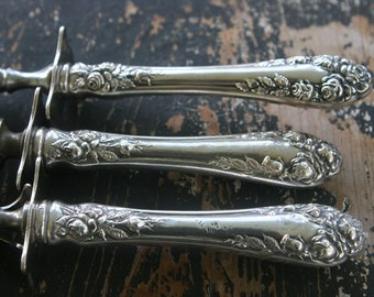 R. Wallace and Sons 3 Piece Sterling Carving Set in Rose Pattern