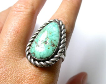 Sterling Silver and Turquoise Ring with Sizer - Size 6 - Weight 13.8 Grams - REDUCED # 37