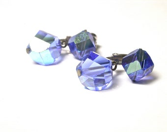 Vouge Blue Clip on Glass Earrings